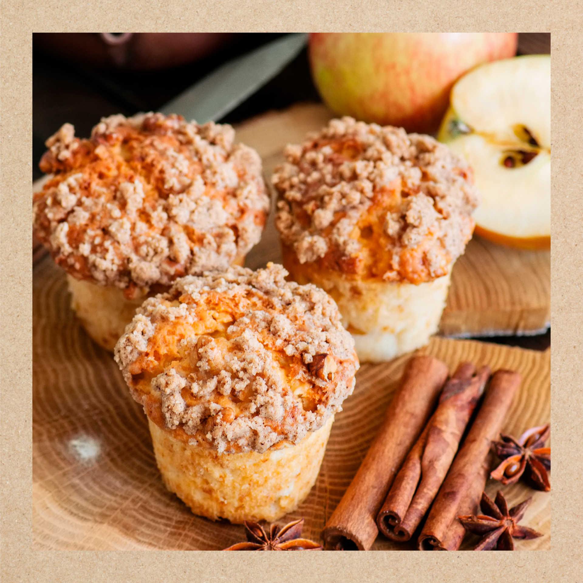 receta muffin de manzana con crumble de avena