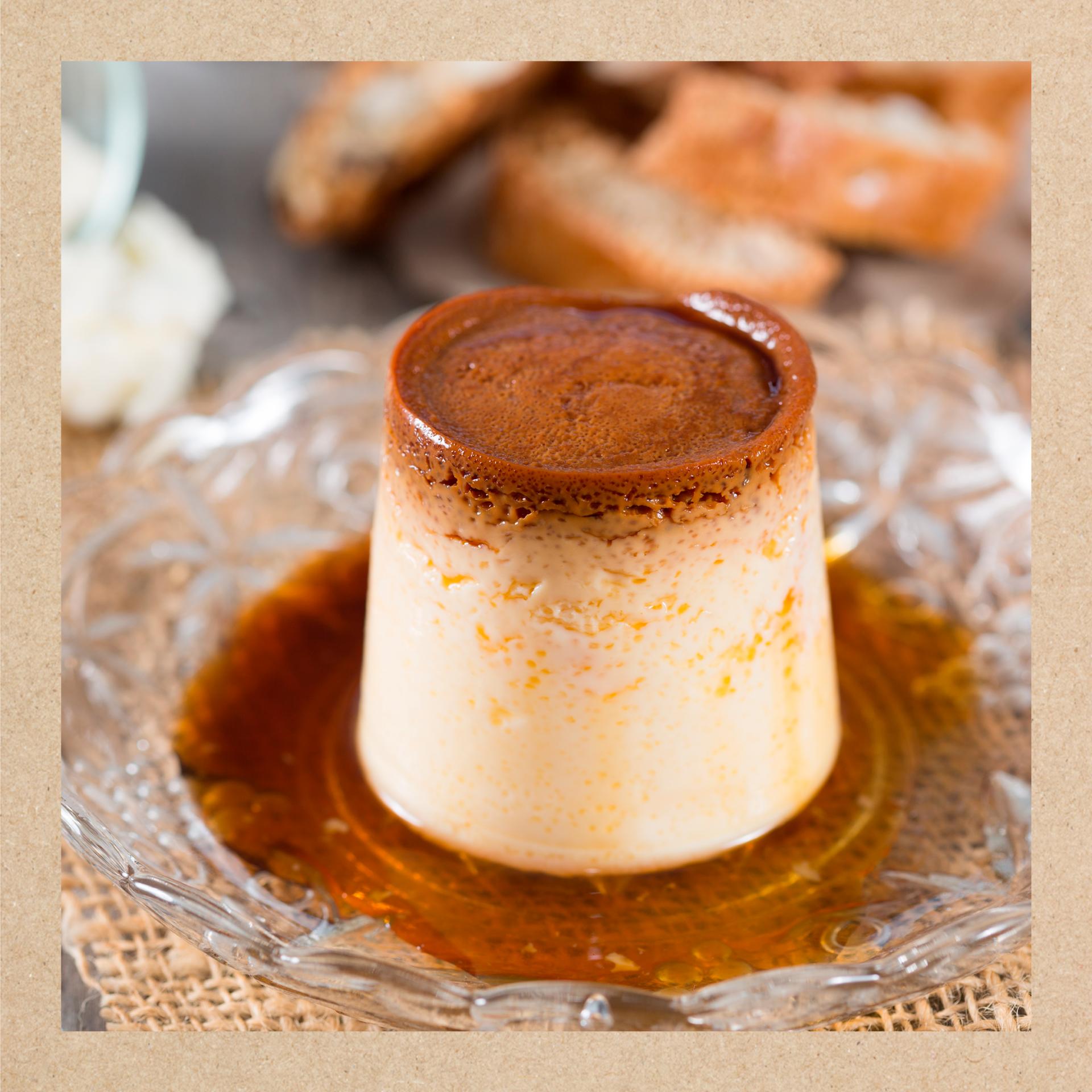 Imagen del flan con la receta y los ingredientes de Únicla